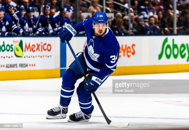 Auston Matthews of the Toronto Maple Leafs skates against the Arizona Coyotes during the first period at the Scotiabank Arena on January 20, 2019 in...