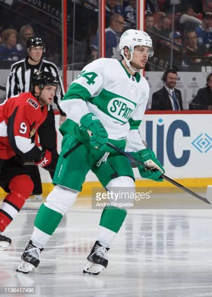Auston Matthews of the Toronto Maple Leafs skates against the Ottawa Senators at Canadian Tire Centre on March 16 2019 in Ottawa Ontario Canada
