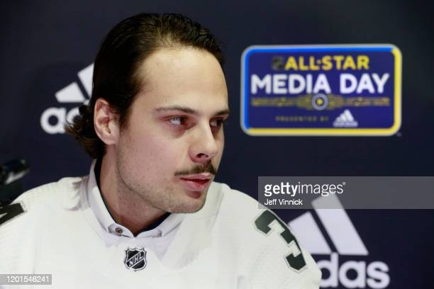 Auston Matthews of the Toronto Maple Leafs speaks during the 2020 NHL AllStar media day at the Stifel Theater on January 23 2020 in St Louis Missouri