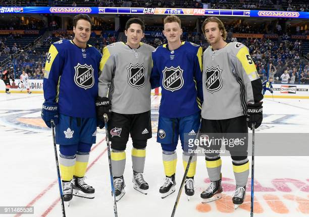 Auston Matthews of the Toronto Maple Leafs Zach Werenski of the Columbus Blue Jackets Jack Eichel of the Buffalo Sabres and Noah Hanifin of the...