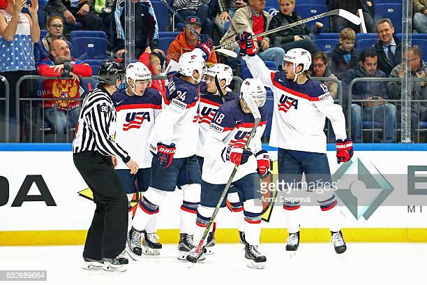 Auston Matthews of USA celebrates his second period goal against Czech Republic with teammates Noah Hanifin and Kyle Connor at Ice Palace on May 19...
