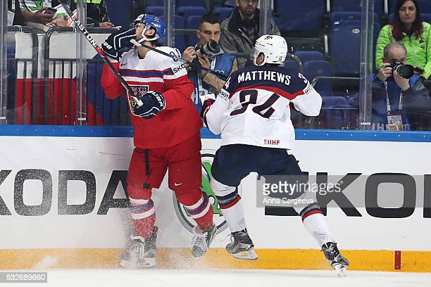 Auston Matthews of USA checks Tomas Kundratek of Czech Republic at Ice Palace on May 19 2016 in Moscow Russia