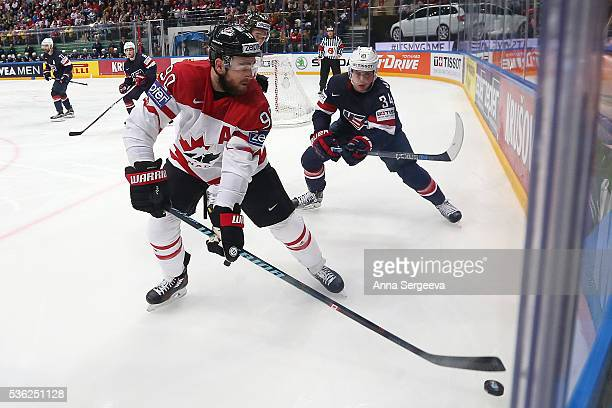 Auston Matthews of USA pursue Ryan O Reilly of Canada at Ice Palace on May 21 2016 in Moscow Russia
