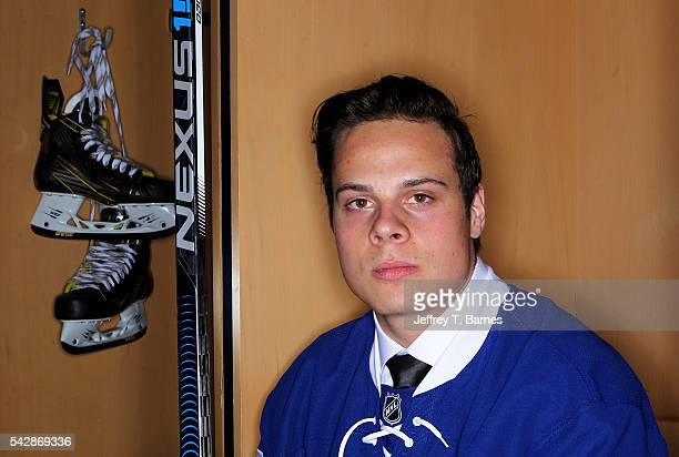 Auston Matthews poses for a portrait after being selected first overall by the Toronto Maple Leafs in round one during the 2016 NHL Draft on June 24...