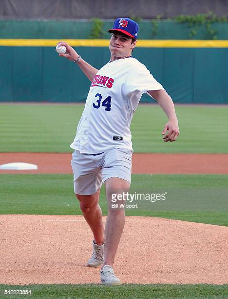 Auston Matthews throws the ceremonial first pitch before the International League game between the Louisville Bats and Buffalo Bisons as part of the...