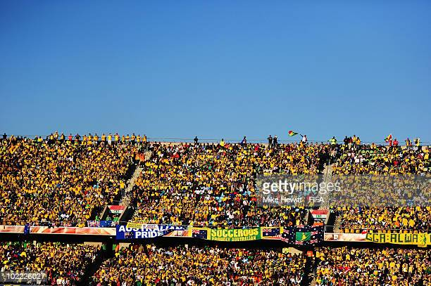 Austraila and Ghana fans enjoy the atmosphere during the 2010 FIFA World Cup South Africa Group D match between Ghana and Australia at the Royal...