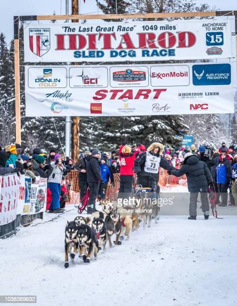 Austrailian musher Christian Turner at the start of the 2015 Iditarod Sled Dog Race in Fairbanks Alaska 09 March 2015 Photo Scott Chesney/dpa | usage...