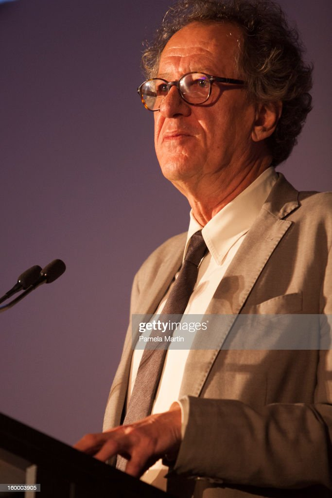 Australain of the Year Geoffrey Rush speaks at the 2013 Australian of the Year finalist lunch at the National Gallery of Australia on January 25, 2013 in Canberra, Australia. .