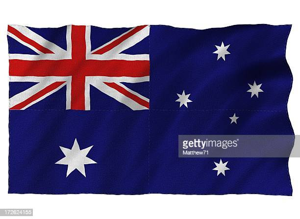 australia 3d flag on white - australian flag stock pictures, royalty-free photos & images