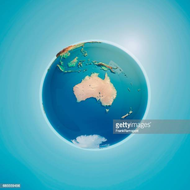 australia 3d render planet earth - australia stock pictures, royalty-free photos & images