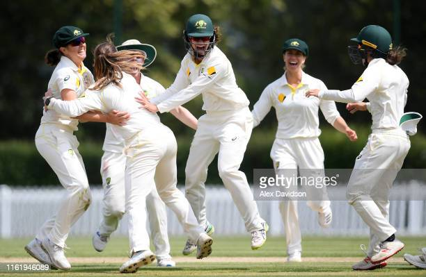Australia A celebrates the wicket of Sarah Taylor of England during Day Three of the International Friendly match between England Women and Australia...