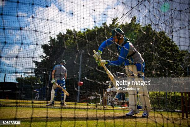 Australia 'A' tour squad captain Usman Khawaja takes part in a cricket training session at Allan Border Field in Brisbane on July 4 2017 Players...