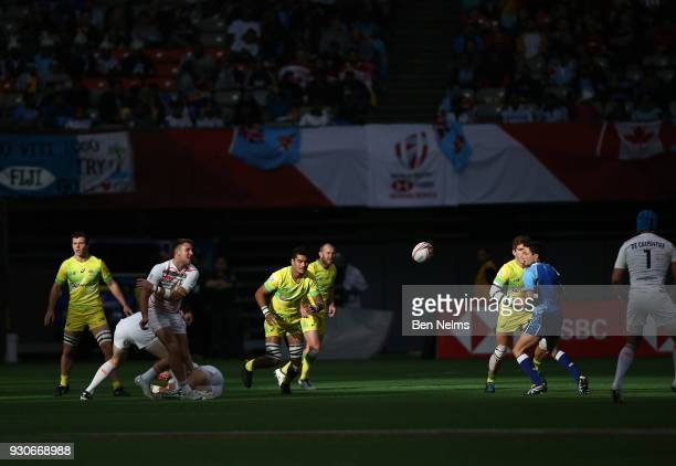 Australia and England play each other during the Canada Sevens the Sixth round of the HSBC Sevens World Series at the BC Place stadium Centre on...