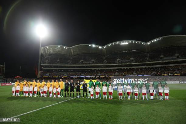 Australia and Saudi Arabia line up during the 2018 FIFA World Cup Qualifier match between the Australian Socceroos and Saudi Arabia at the Adelaide...