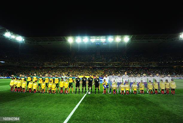 Australia and Serbia line up before the 2010 FIFA World Cup South Africa  Group D match 5a049a6b0dff9