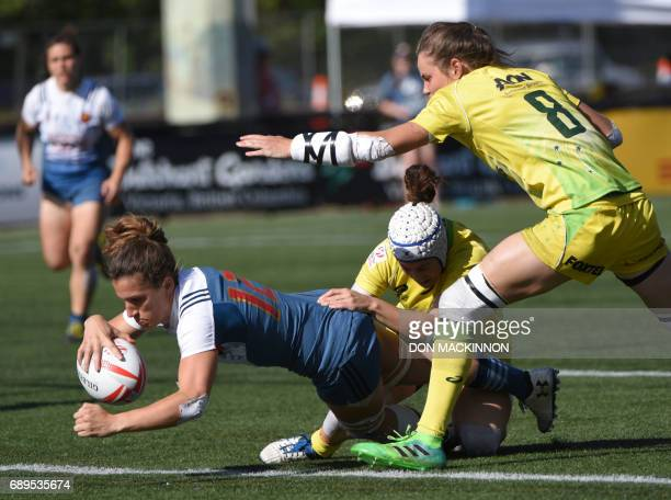 Australia are too late to stop Fanny Horta of France score a try on day two of HSBC Canada Women's Sevens Rugby action at Westhills Stadium in...