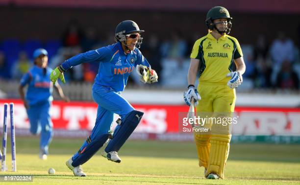 Australia batsman Alex Blackwell is bowled as Sushma Verma celebrates victory during the ICC Women's World Cup 2017 SemiFinal match between Australia...