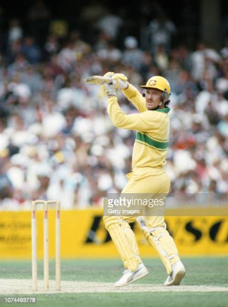 Australia batsman Allan Border finely cuts a ball to pick up some runs during the 2nd BH Series ODI Final against the West Indies at the MCG on...