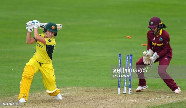 Australia batsman Beth Mooney is bowled for 70 during the ICC Women's World Cup 2017 match between Australia and West Indies at The Cooper Associates...