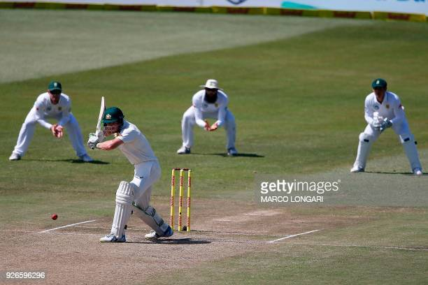 Australia batsman Cameron Bancroft hits a ball during day three of the first Sunfoil Test between South Africa and Australia at the Kingsmead Stadium...