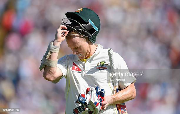 Australia batsman Chris Rogers leaves the field after being dismissed for 95 during day two of the 1st Investec Ashes Test match between England and...