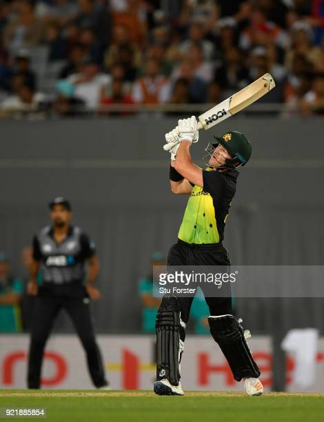 Australia batsman D'Arcy Short hits a Tim Southee delivery for six during the International Twenty20 Tri Series Final match between New Zealand and...