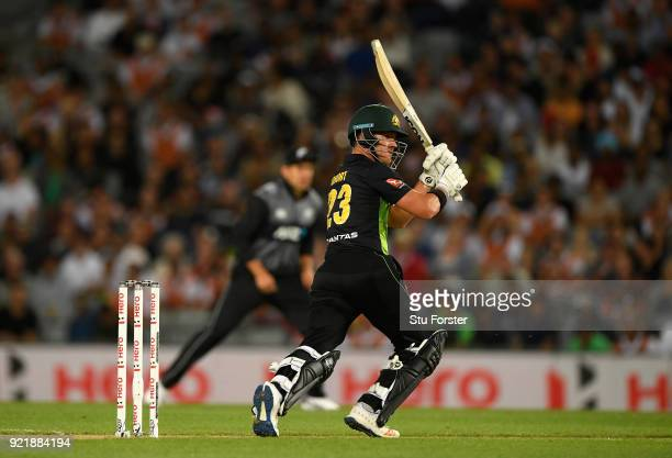 Australia batsman D'Arcy Short hits out during the International Twenty20 Tri Series Final match between New Zealand and Australia at Eden Park on...