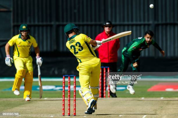 Australia batsman D'Arcy Short in action during the final of the triseries played between Pakistan and Australia in a T20 triseries at the Harare...