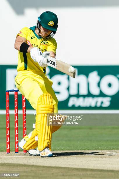 Australia batsman D'Arcy Short plays a shot during the third match played between Australia and hosts Zimbabwe as part of a T20 triseries which...