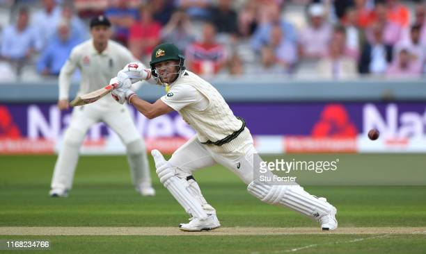 Australia batsman David Warner bats during day two of the 2nd Test Match between England and Australia at Lord's Cricket Ground on August 15 2019 in...