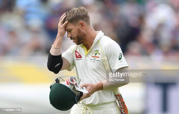 Australia batsman David Warner reacts after he is given out after review during Day three of the First Specsavers Test Match at Edgbaston on August...