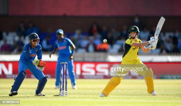 Australia batsman Elyse Villani hits out during the ICC Women's World Cup 2017 SemiFinal match between Australia and India at The 3aaa County Ground...