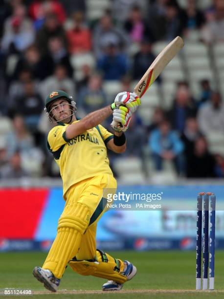 Australia batsman Glenn Maxwell hits the ball for 6 against New Zealand during the ICC Champions Trophy match at Edgbaston Birmingham