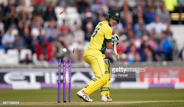 Australia batsman Joe Burns is bowled by David Willey during the 4th Royal London OneDay International match between England and Australia at...