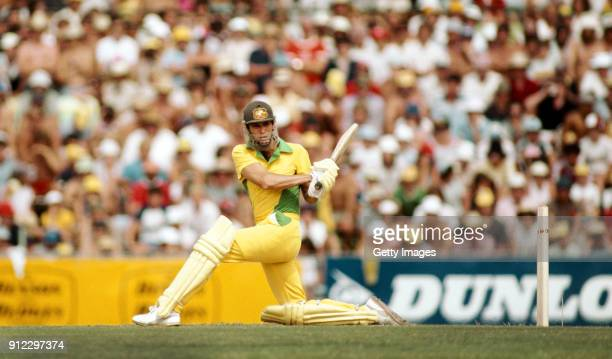 Australia batsman John Dyson in his coloured clothing sweeps a ball during his innings top score of 49 during the 1st Benson and Hedges World Series...