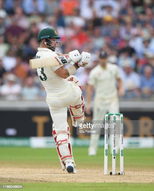 Australia batsman Matthew Wade pulls a ball to the boundary during day four of the First Specsavers Test Match between England and Australia at...