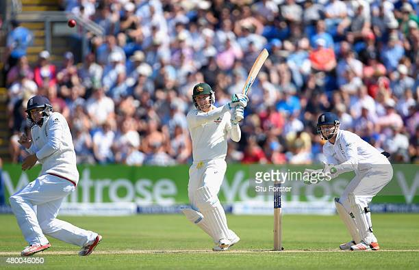 Australia batsman Michael Clarke picks up some runs watched by Jos Buttler during day two of the 1st Investec Ashes Test match between England and...