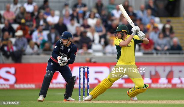 Australia batsman Moses Henriques hits out during the ICC Champions Trophy match between England and Australia at Edgbaston on June 10 2017 in...