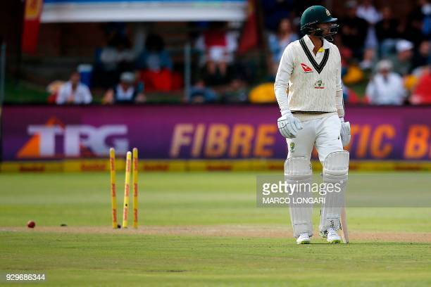 Australia batsman Nathan Lyon leaves the ground after having been dismissed by South Africa bowler Lungi Ngidi during day one of the second Sunfoil...