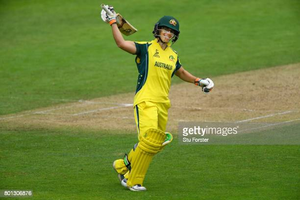 Australia batsman Nicole Bolton celebrates her century during the ICC Women's World Cup 2017 match between Australia and West Indies at The Cooper...