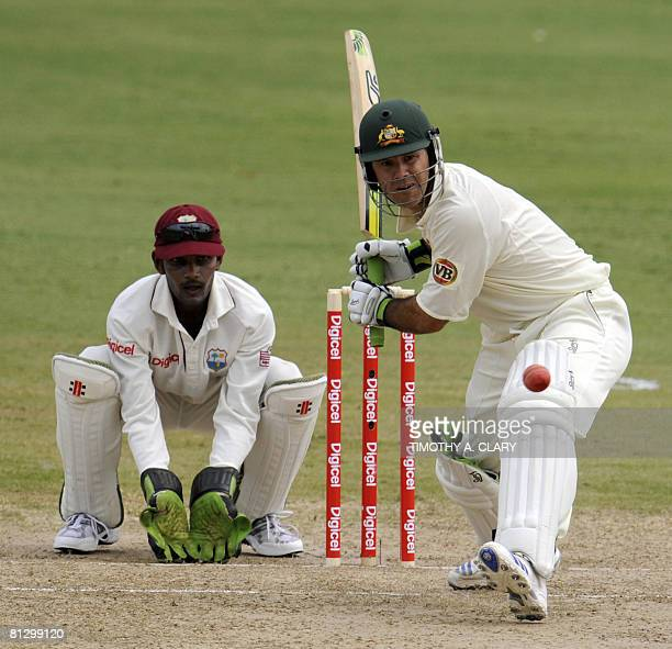 Australia batsman Ricky Ponting and West Indies wicketkeeper Denesh Ramdin during the 2008 Digicel Home Series to be held at the Sir Vivian Richards...