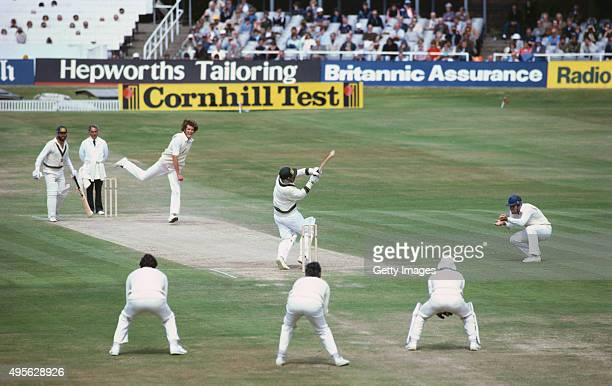 Australia batsman Rodney Marsh hooks England bowler Bob Willis only to be caught on the third man boundary by Graham Dilley as Willis bowls England...