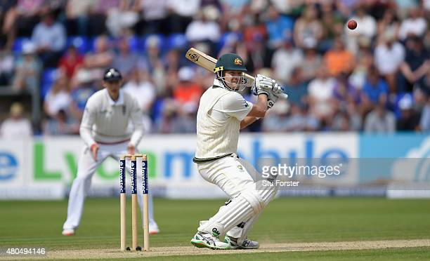 Australia batsman Shane Watson hits out during day four of the 1st Investec Ashes Test match between England and Australia at SWALEC Stadium on July...