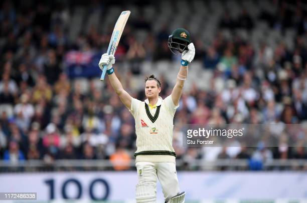 Australia batsman Steve Smith celebrates after reaching his century during day two of the 4th Ashes Test Match between England and Australia at Old...