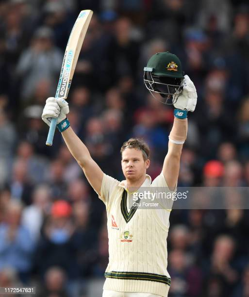 Australia batsman Steve Smith celebrates after reaching his double century during day two of the 4th Ashes Test Match between England and Australia...