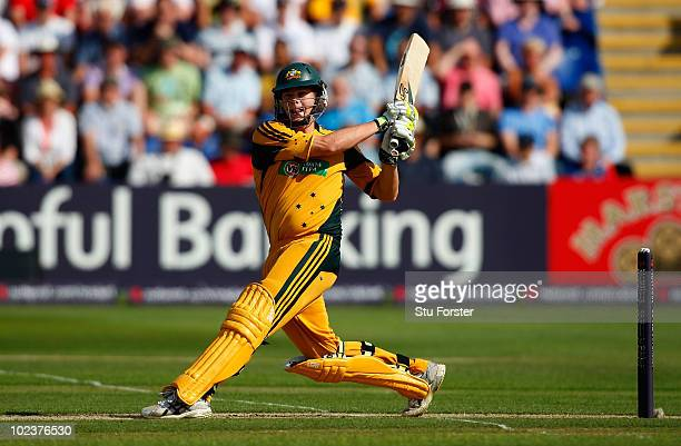 Australia batsman Steve Smith hits a boundary during the 2nd Natwest One Day International between England and Australia at the Swalec Stadium on...