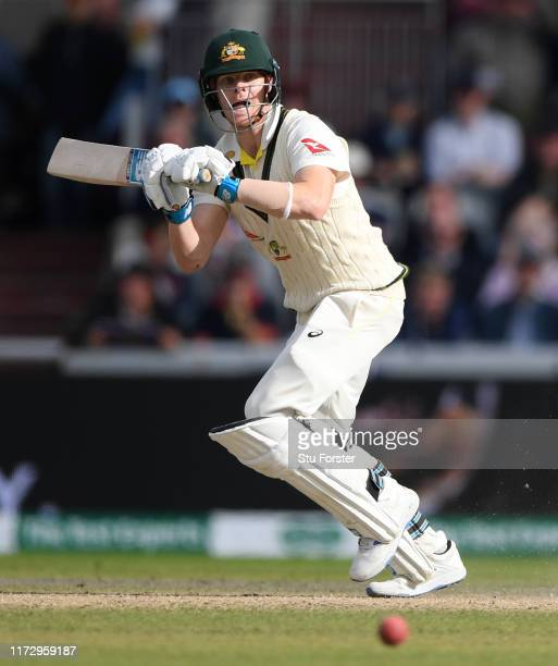 Australia batsman Steve Smith hits out during day four of the 4th Ashes Test Match between England and Australia at Old Trafford on September 07 2019...