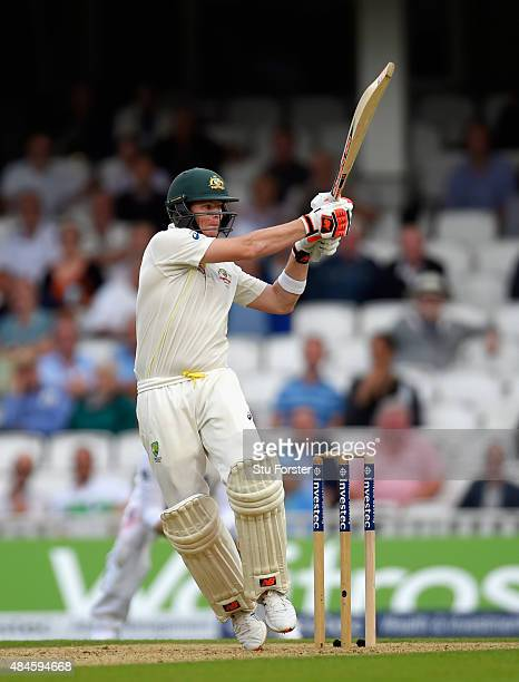 Australia batsman Steve Smith hits out during day one of the 5th Investec Ashes Test match between England and Australia at The Kia Oval on August 20...