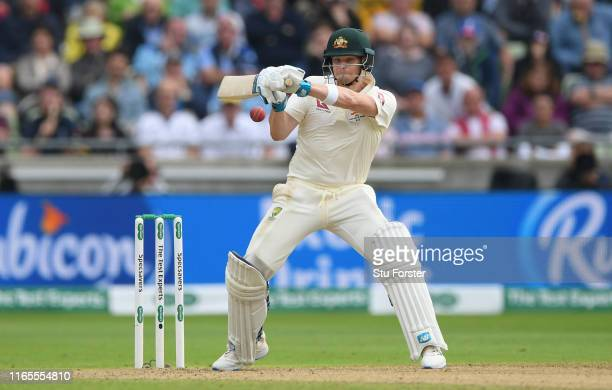 Australia batsman Steve Smith hits out during day one of the First Specsavers Ashes Test Match between England and Australia at Edgbaston on August...