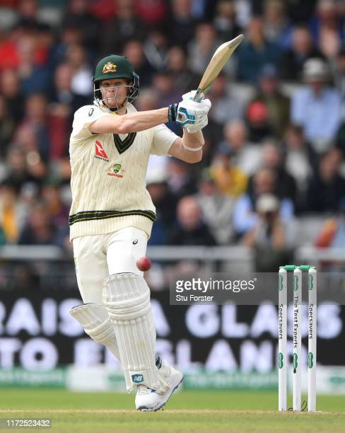 Australia batsman Steve Smith pulls a ball to the boundary during day two of the 4th Ashes Test Match between England and Australia at Old Trafford...